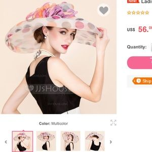 Accessories - Colorful organza with feather floppy hat